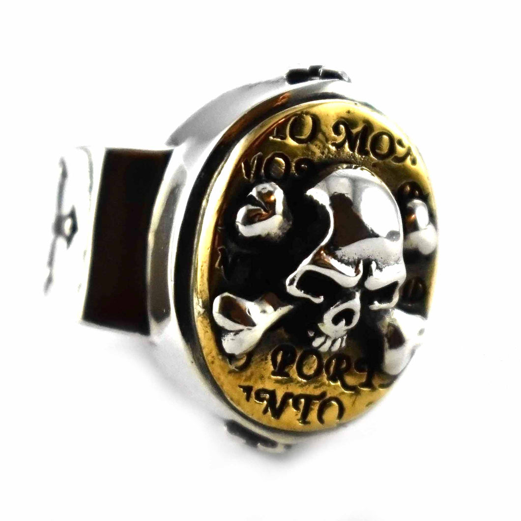 Skull with bone copper plating oval silver ring