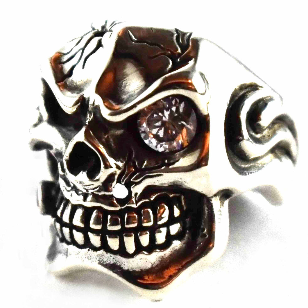 Skull with cigar and white cubic zirconia silver ring