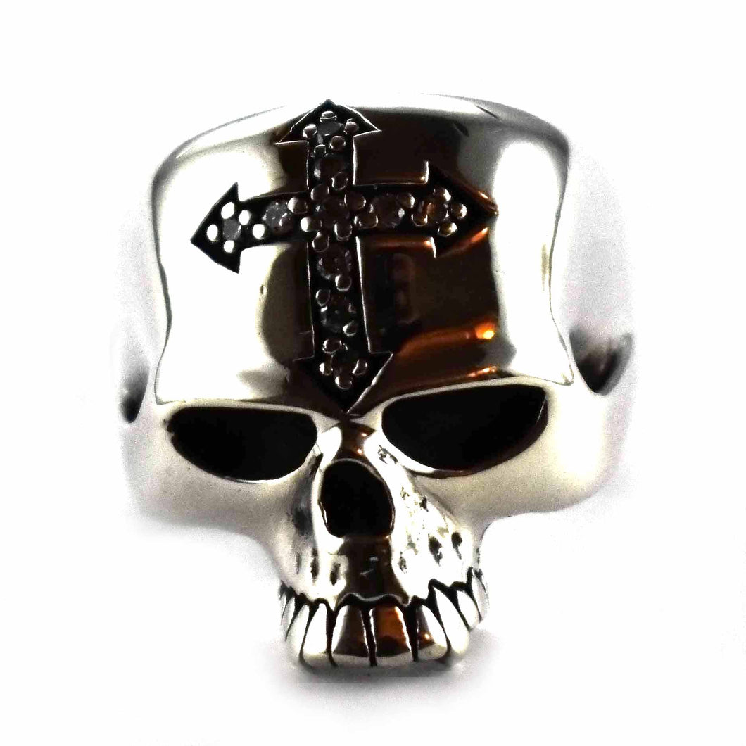 Skull with cross and white cubic zirconia silver ring