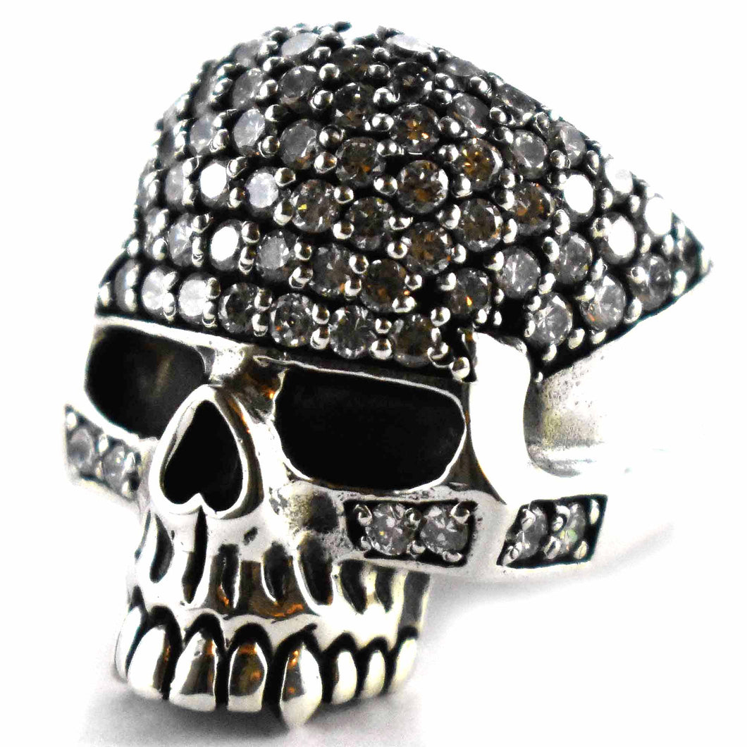 Skull with full of white cubic zirconia silver ring