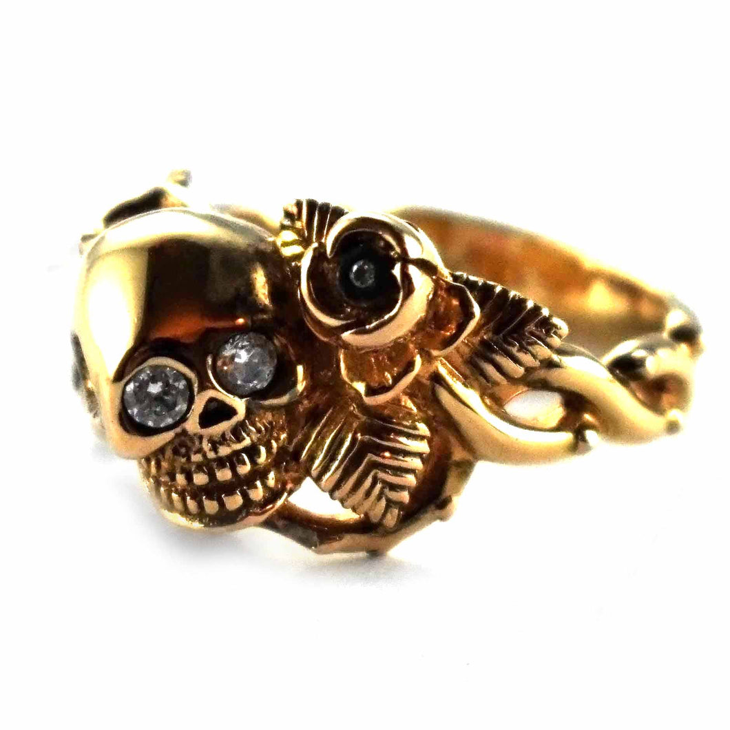 Skull with gold plating & rose silver ring