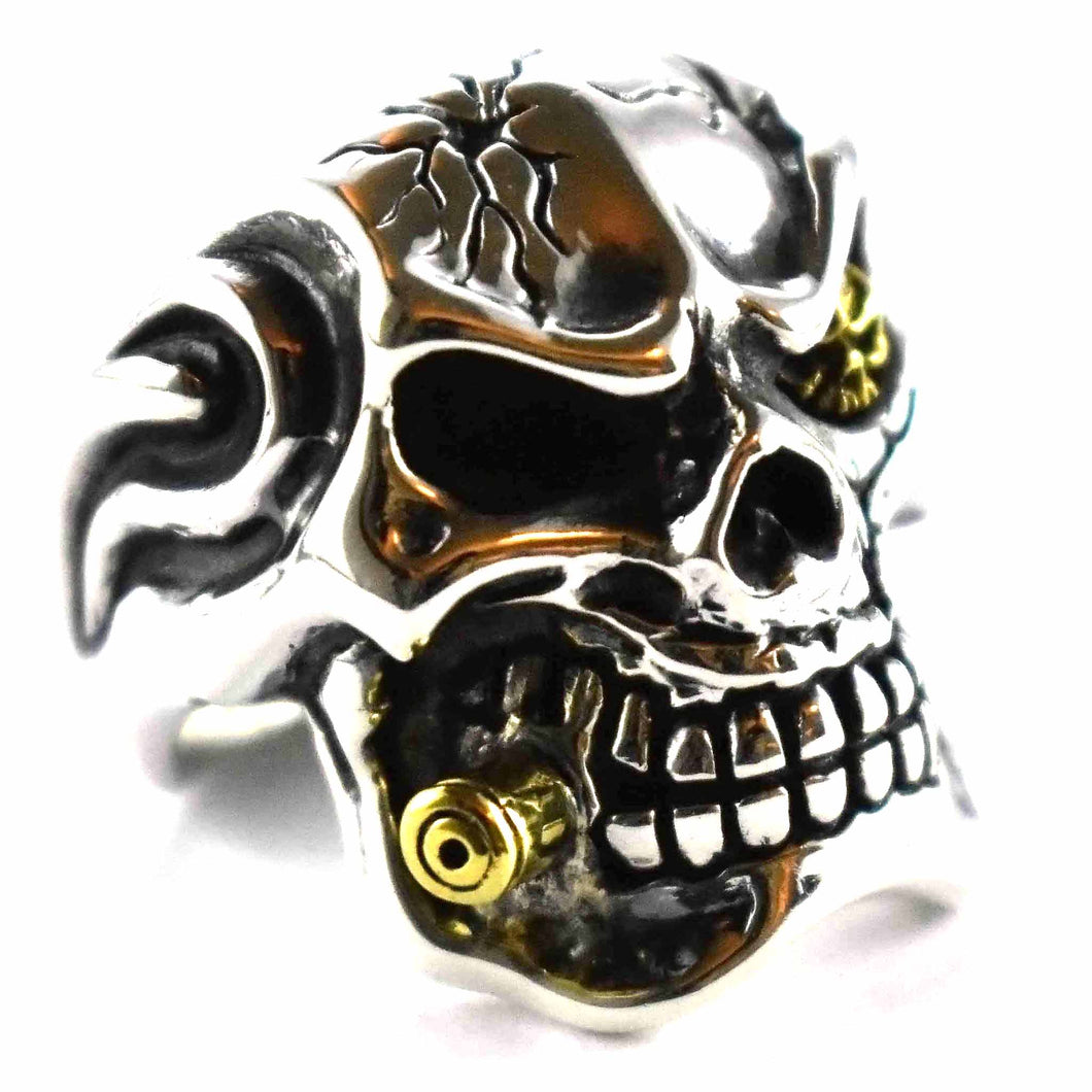 Skull with golden cigar silver ring