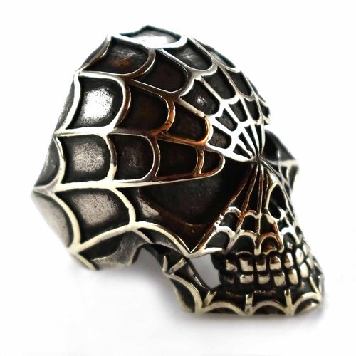Skull with spider web silver ring