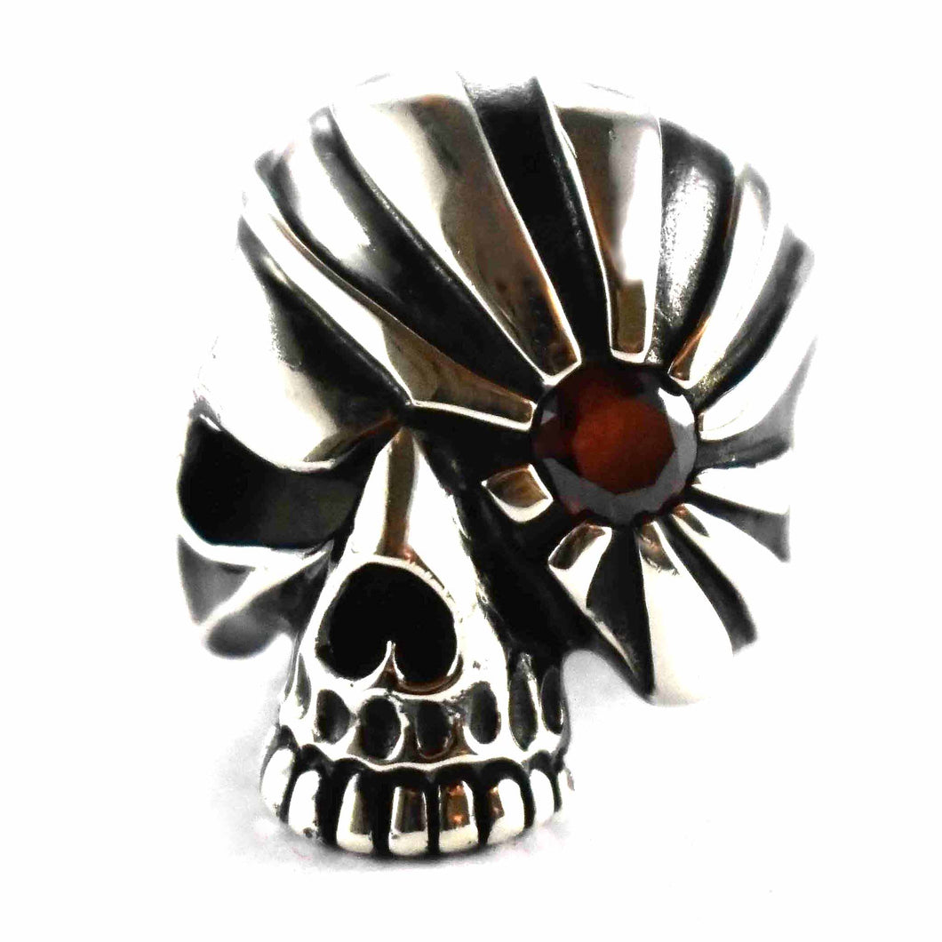 Skull with sun pattern & dark red cubic zirconia silver ring