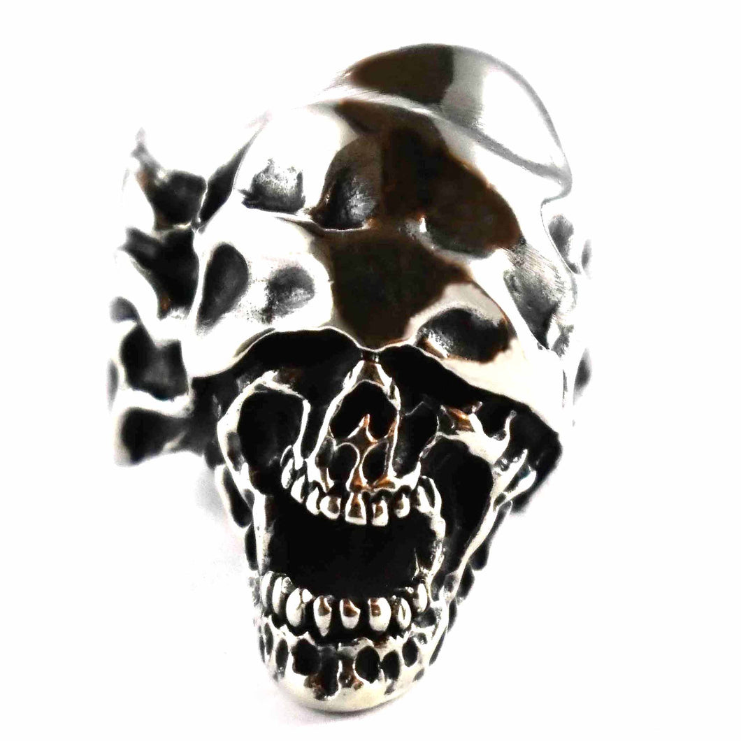 Skull without eyes silver ring