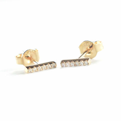 Small rectangle stud silver earring with CZ & pink gold plating