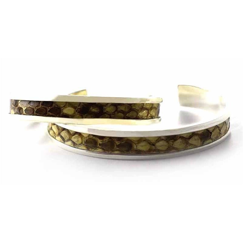 Snake leather silver couple ring