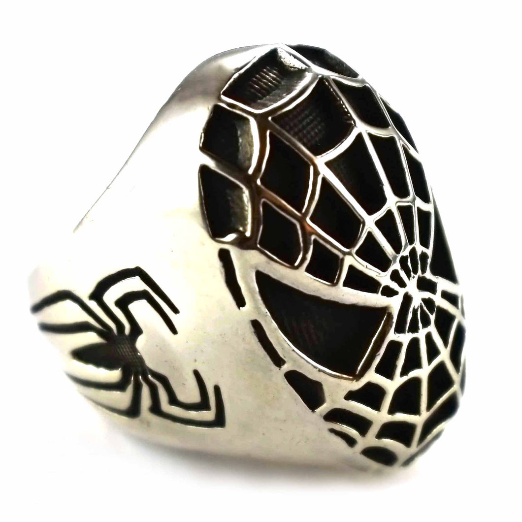 Spiderman with oxidizing silver ring