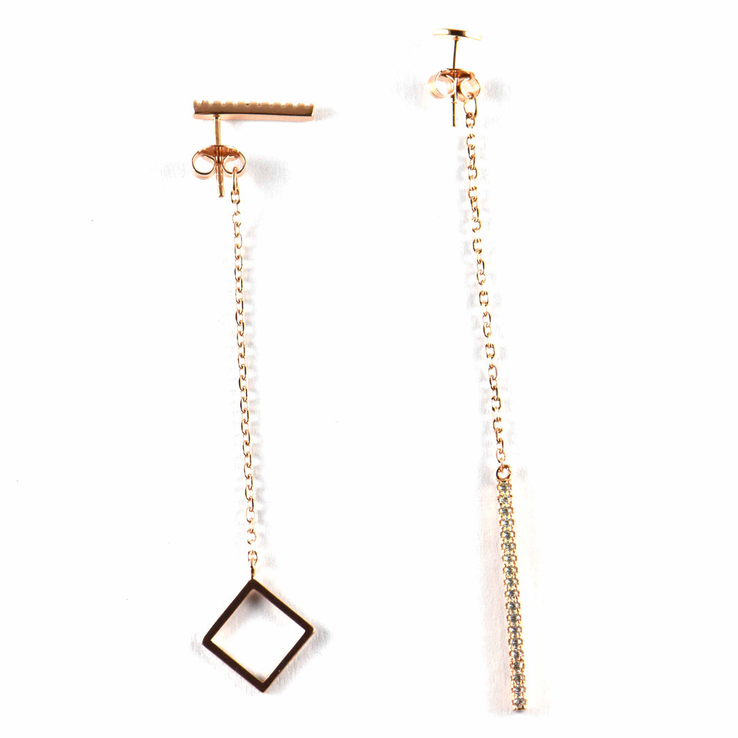 Square & chain silver earring with pink gold plating