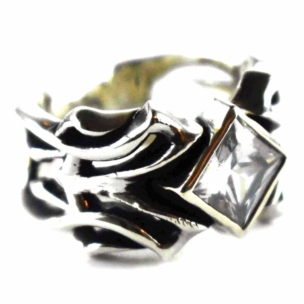Square white cubic zirconia with oxidize silver ring