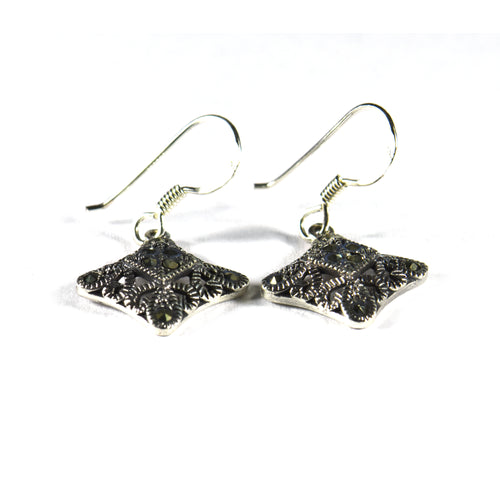 Square silver hoop earring with marcasite