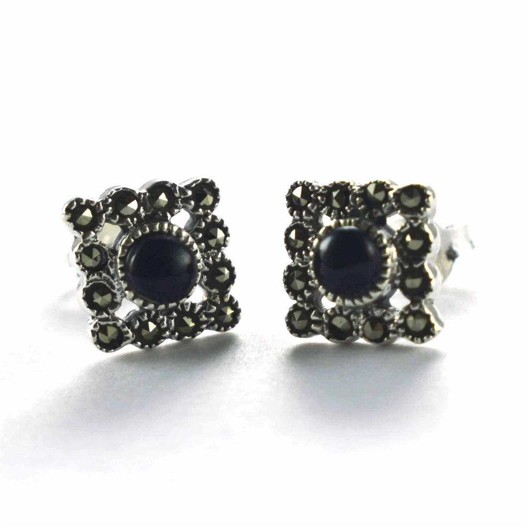 Square studs silver earring with onyx & marcasite