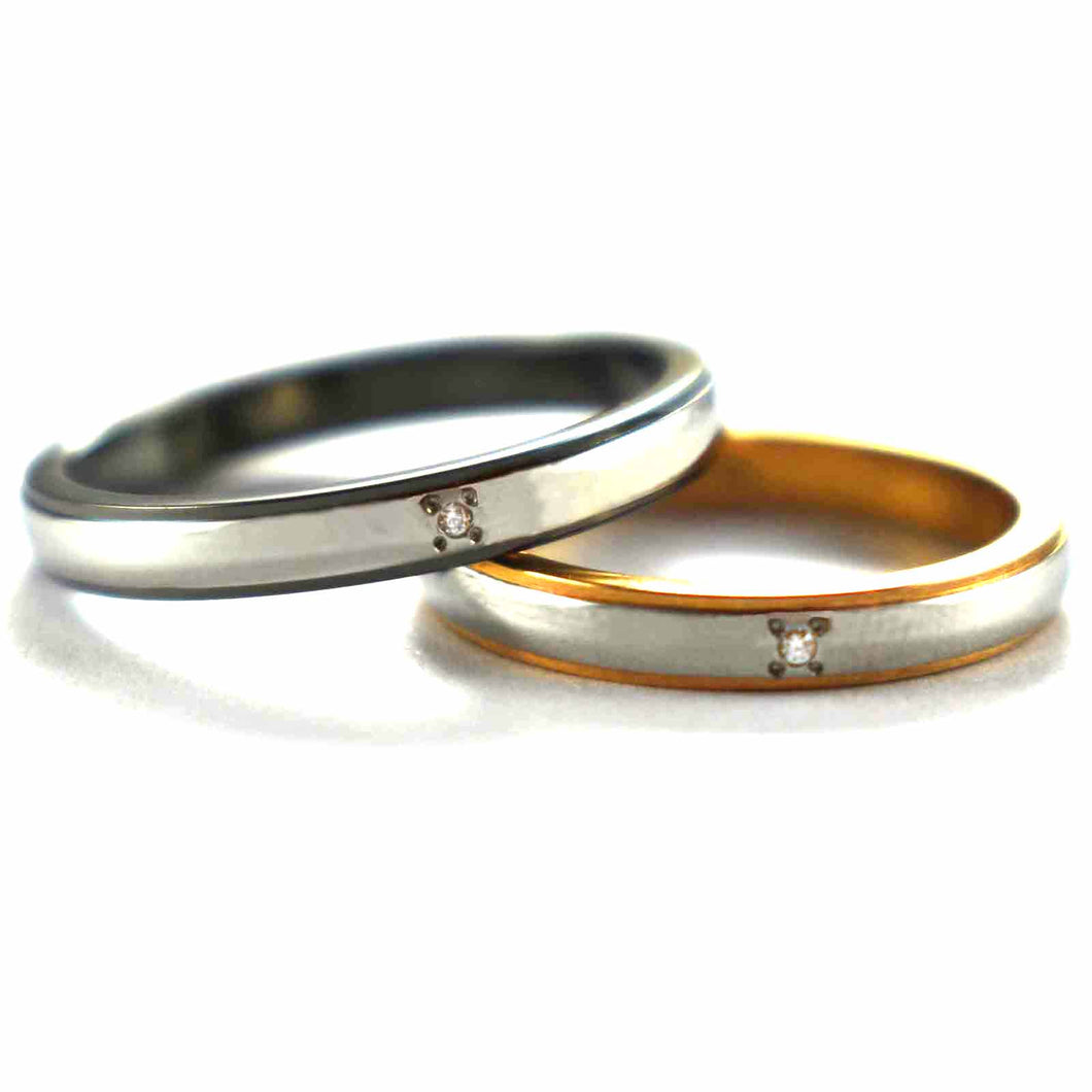 Stainless steel couple ring with black & gold plating