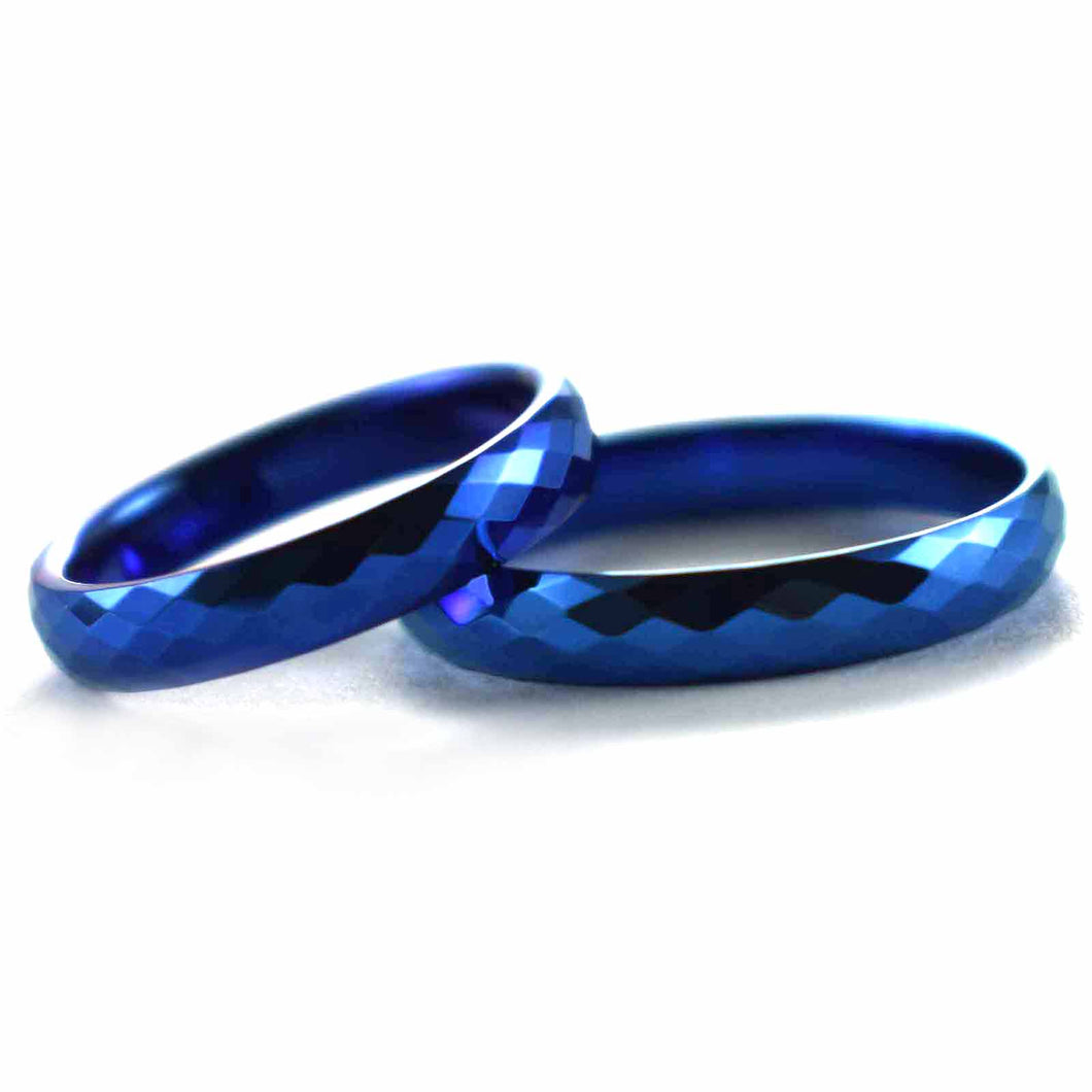 Stainless steel couple ring with diamond cut and blue plating