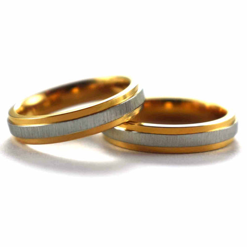 Couple Ring - silver & pink gold plating