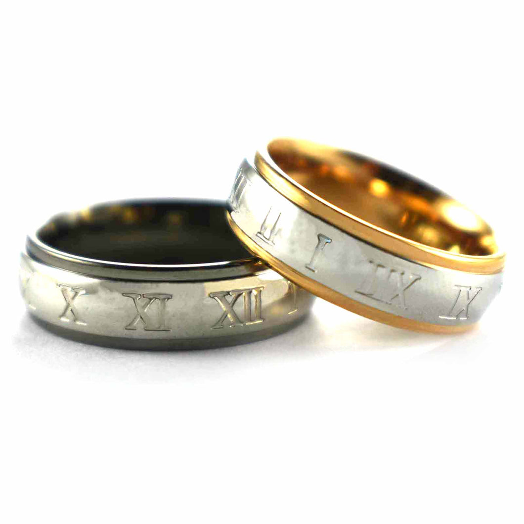 Stainless steel couple ring with roman numeral pattern