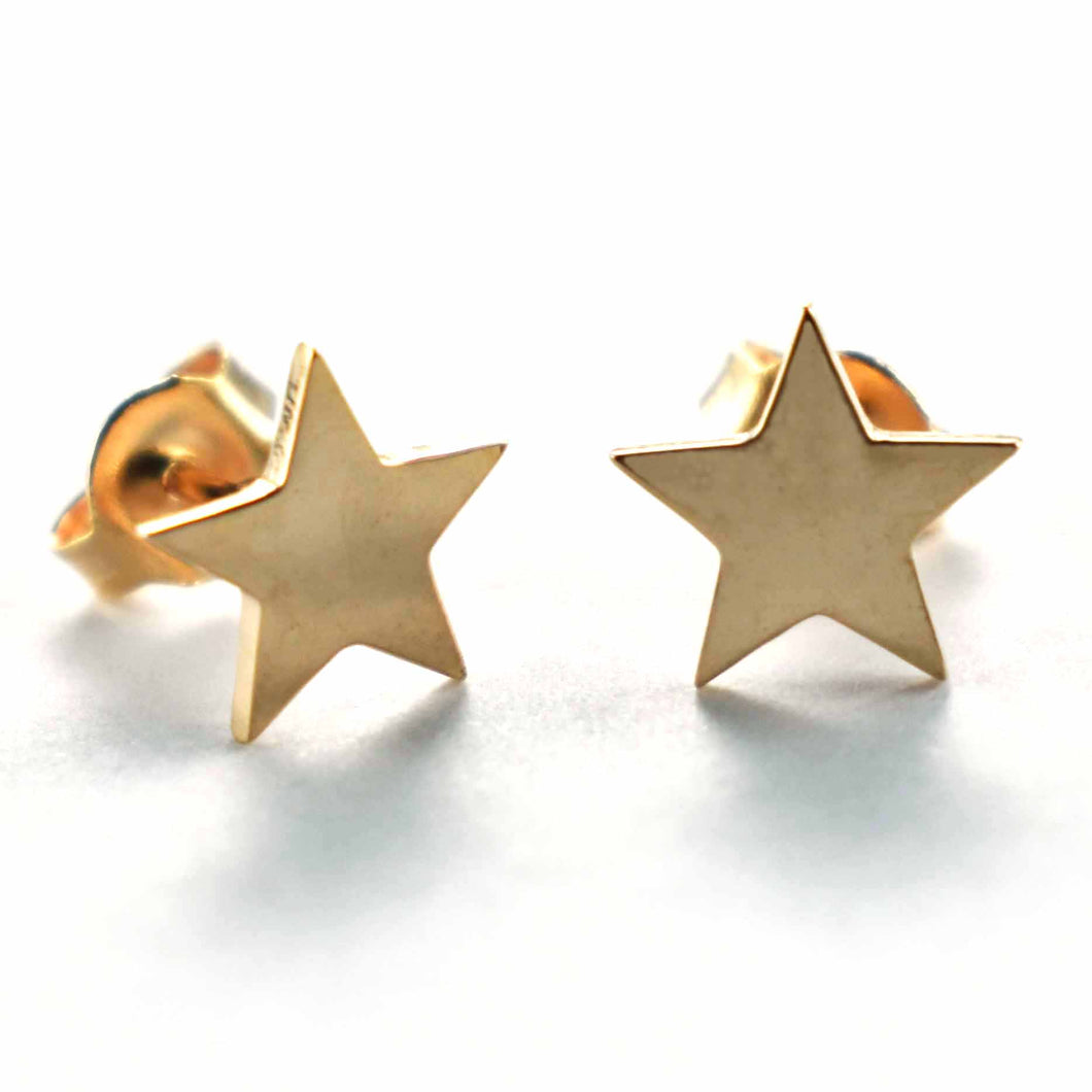 Star & plain silver earring with pink gold plating