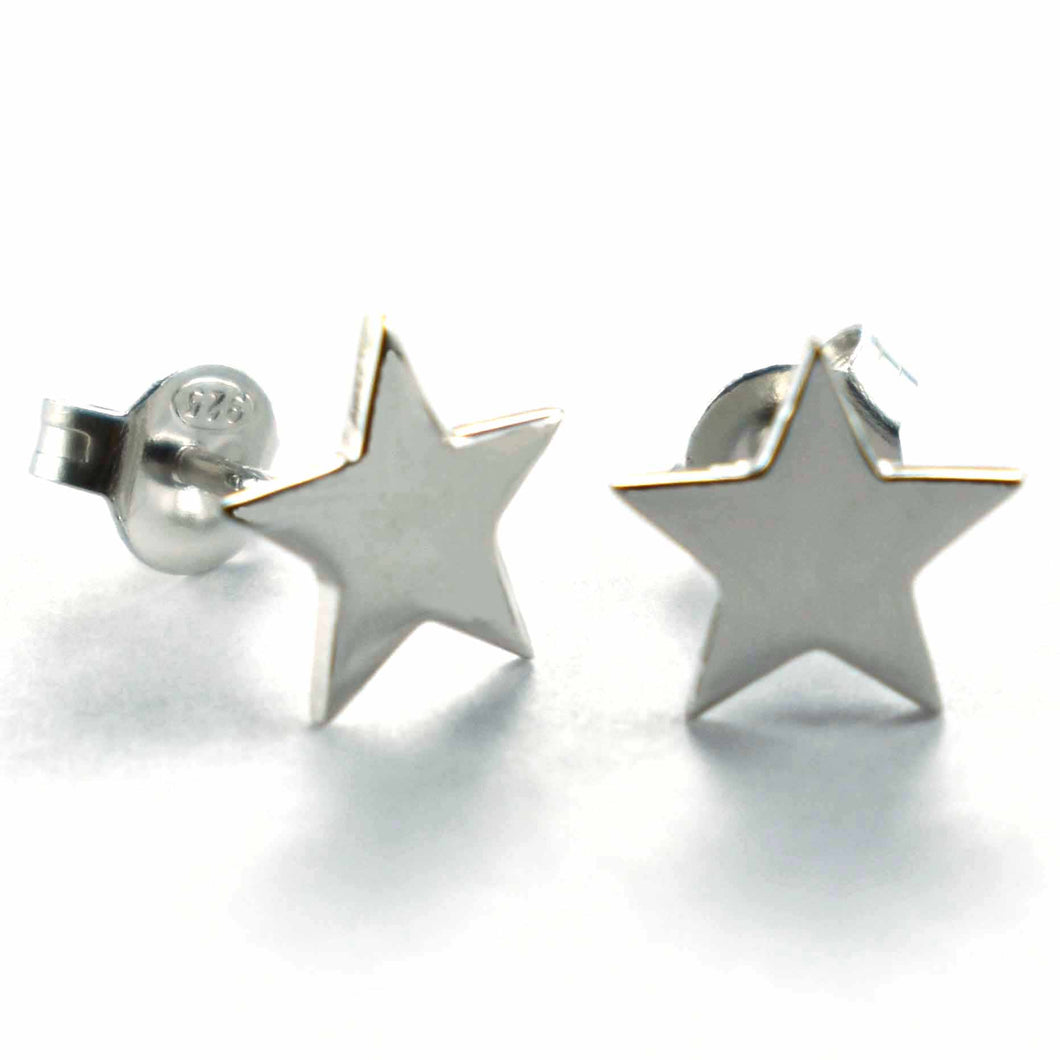 Star & plain silver ring with platinum plating