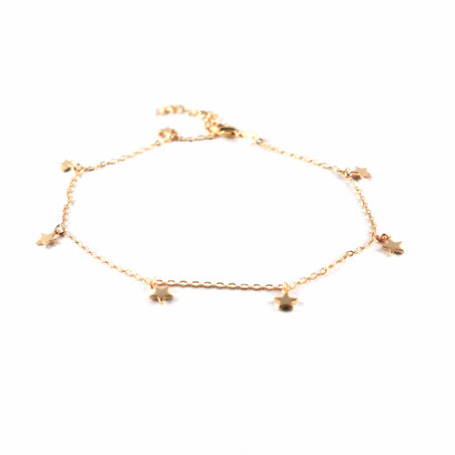 Star silver anklet with pink gold plating