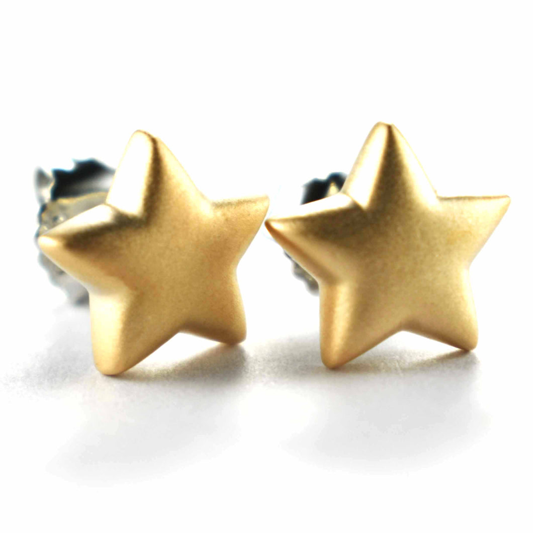 Star silver earring with ice cut & pink gold plating