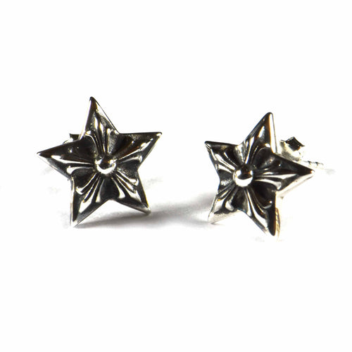 Star silver studs earring with silver oxidize