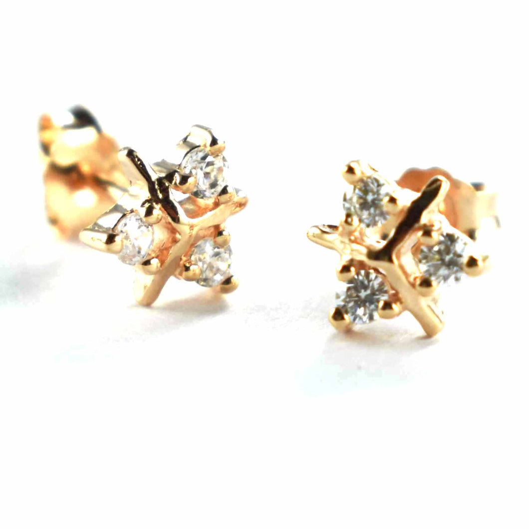 Stud silver earring with 3 small CZ & pink gold plating