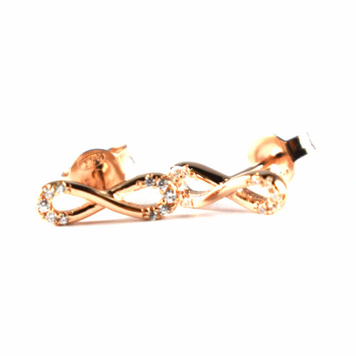Stud silver earring with bow shape & pink gold plating