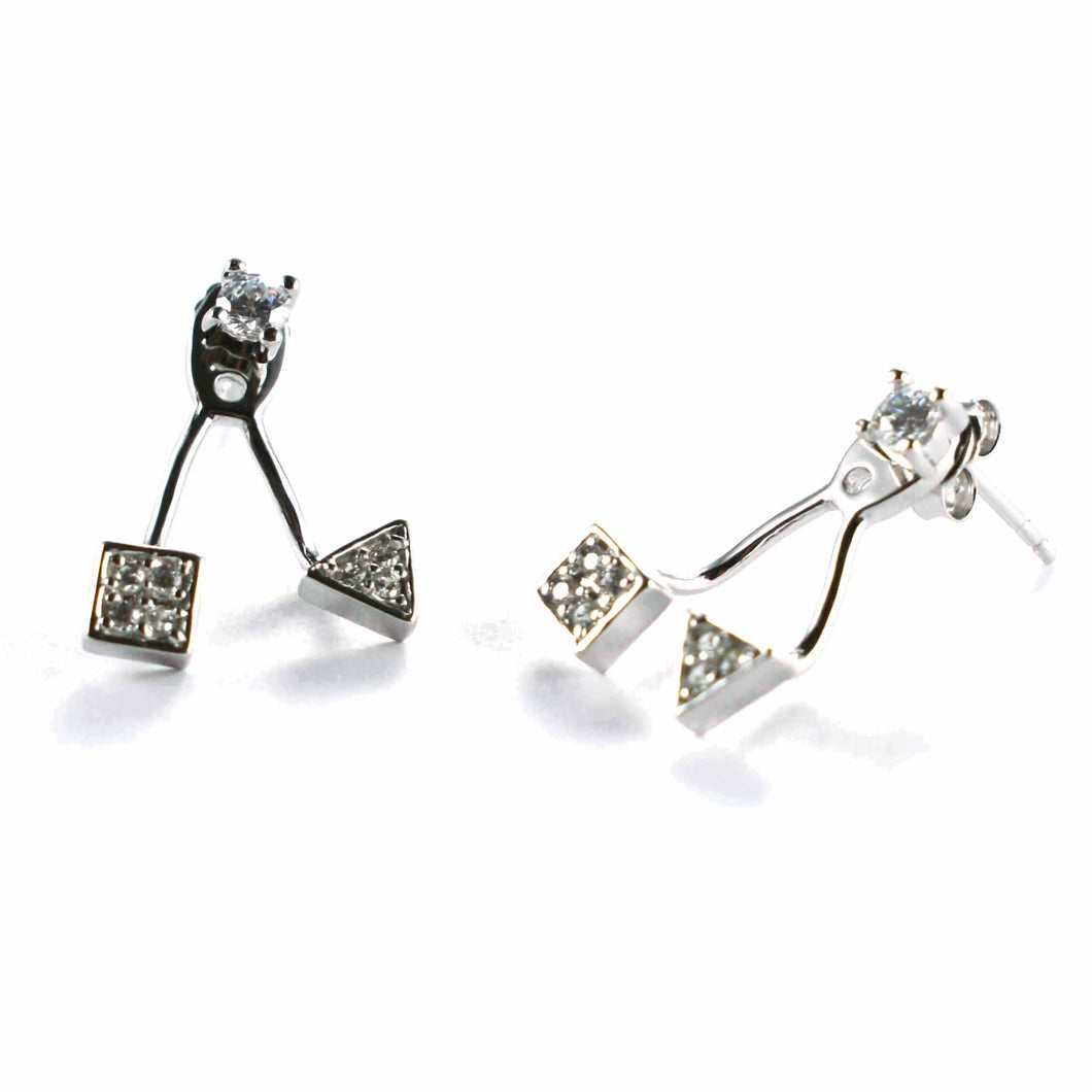 Stud silver earring with square & triangle pattern