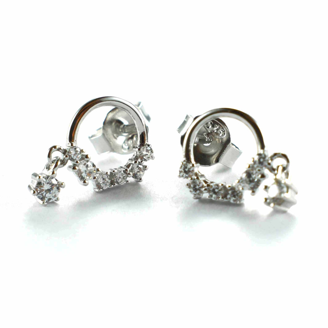 Stud silver earring with white CZ