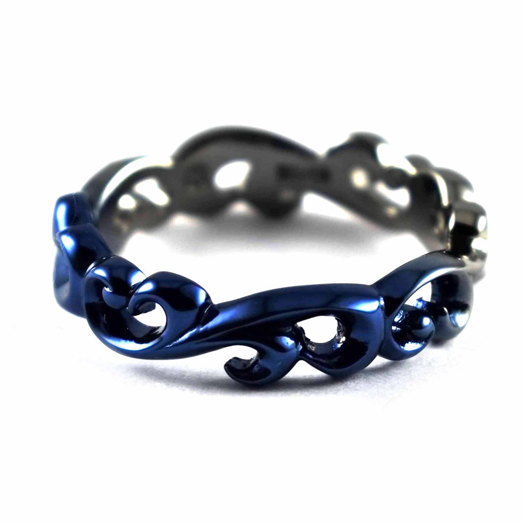 Thorns pattern gradual blue plating silver ring