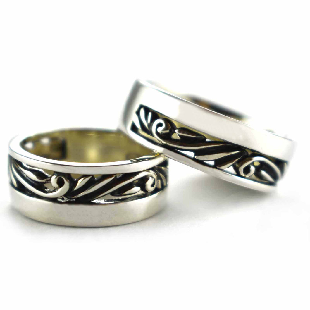 Thorns pattern silver couple ring with oxidized