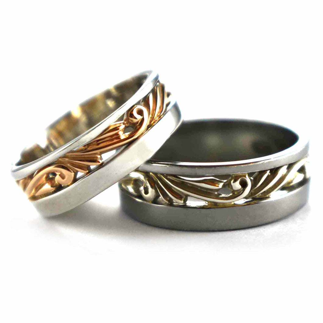 Thorns pattern silver couple ring with pink gold & black rhodium plating