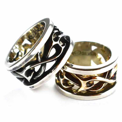 Thorns pattern with cylinder shape silver couple ring