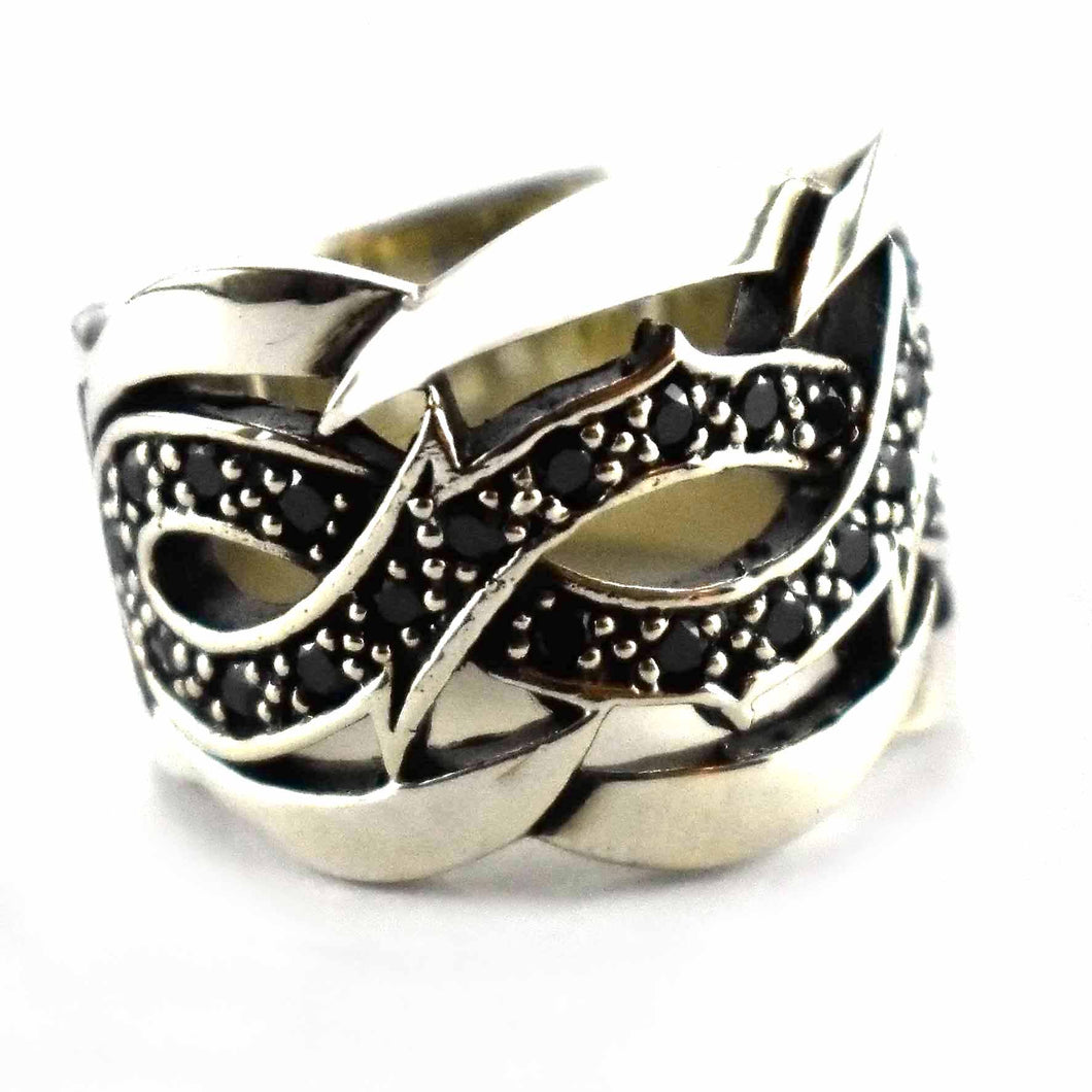 Thorns pattern with small black cubic zirconia silver ring