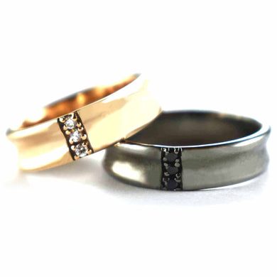 Three CZ couple ring with pink gold & black rhodium plating
