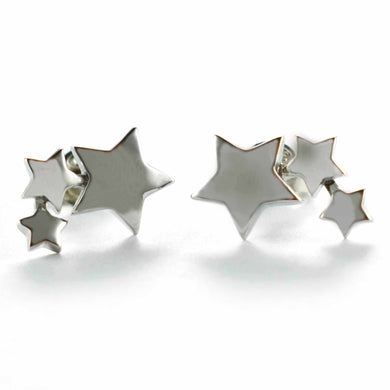 Three stars silver studs earring