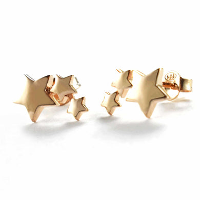 Three stars stud silver earring with pink gold plating