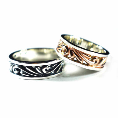 Thorns pattern silver couple ring with oxidizing & pink gold plating
