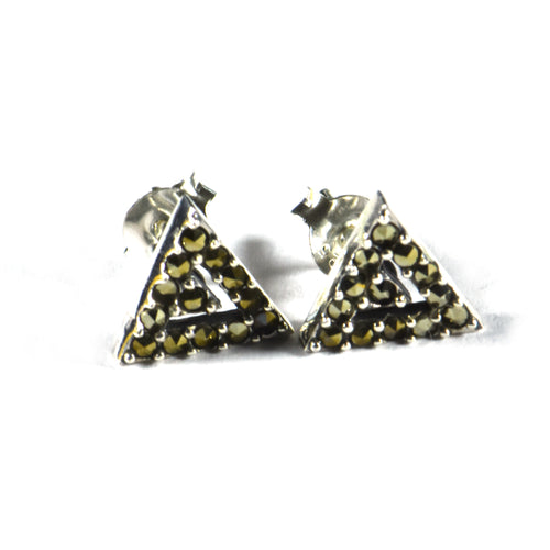 Triangle silver studs earring with marcasite