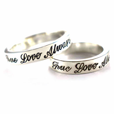 True love always silver couple ring