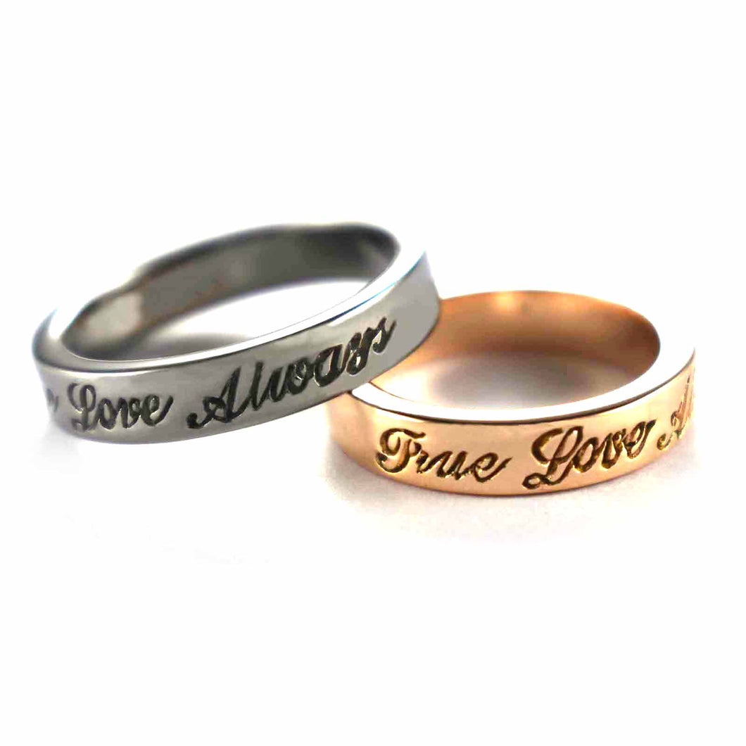 True love always silver couple ring with pink gold & black rhodium