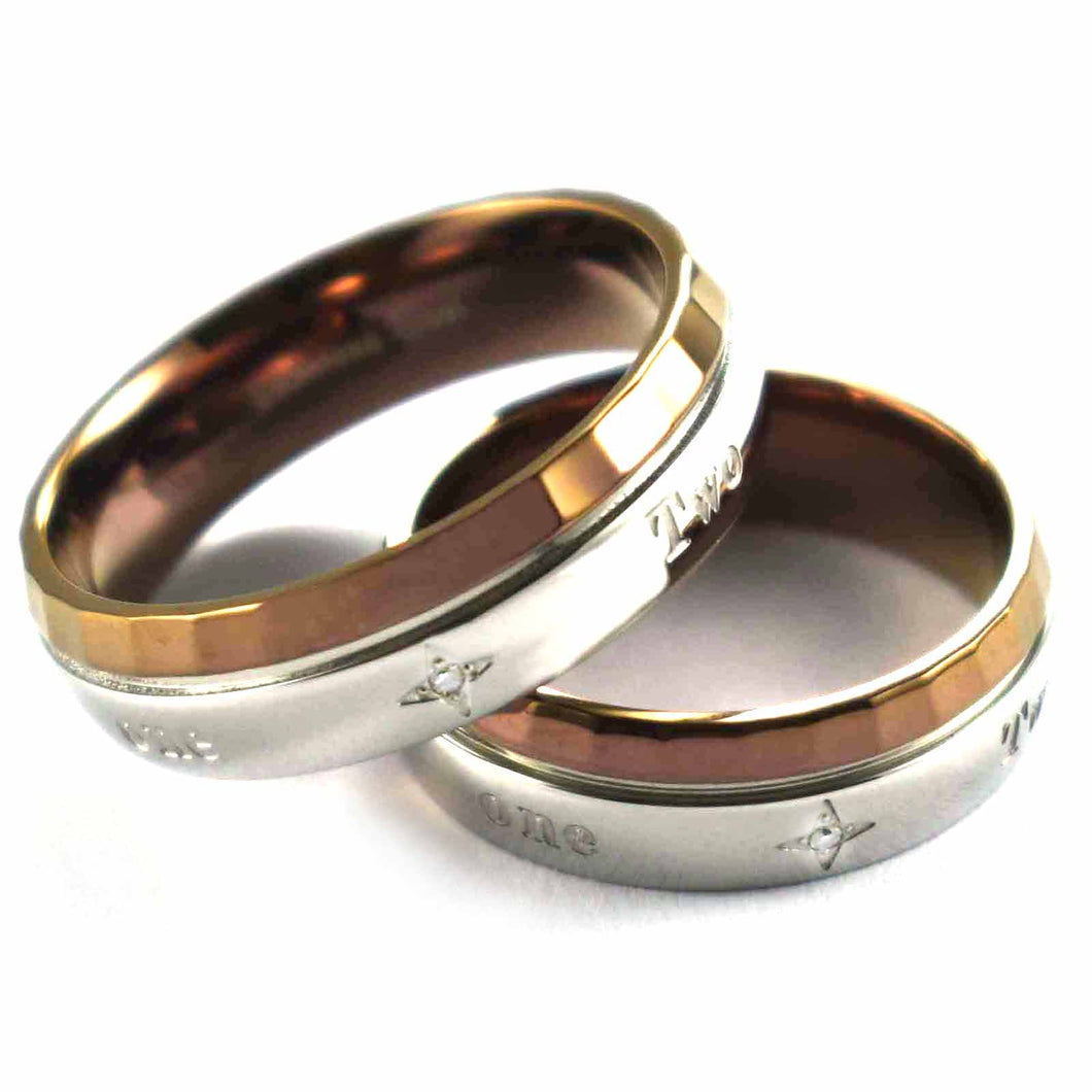 Two hearts that beat as one stainless steel couple ring