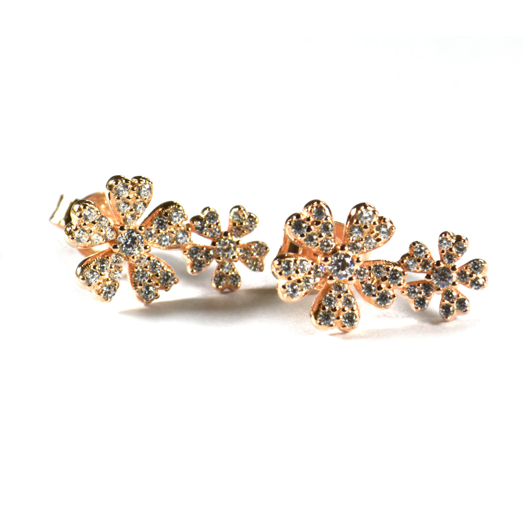Two flower silver earring with CZ & pink gold plating