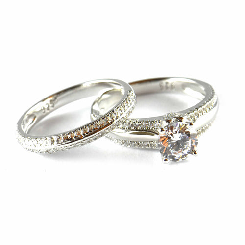 Two piece silver wedding ring with CZ
