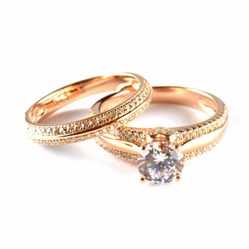 Two piece silver wedding ring with CZ & pink gold plating
