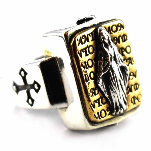 Virgin Mary with copper plating rectangle silver ring