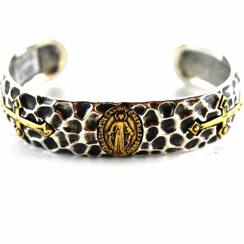 Virgin Mary with hummer pattern silver bangle