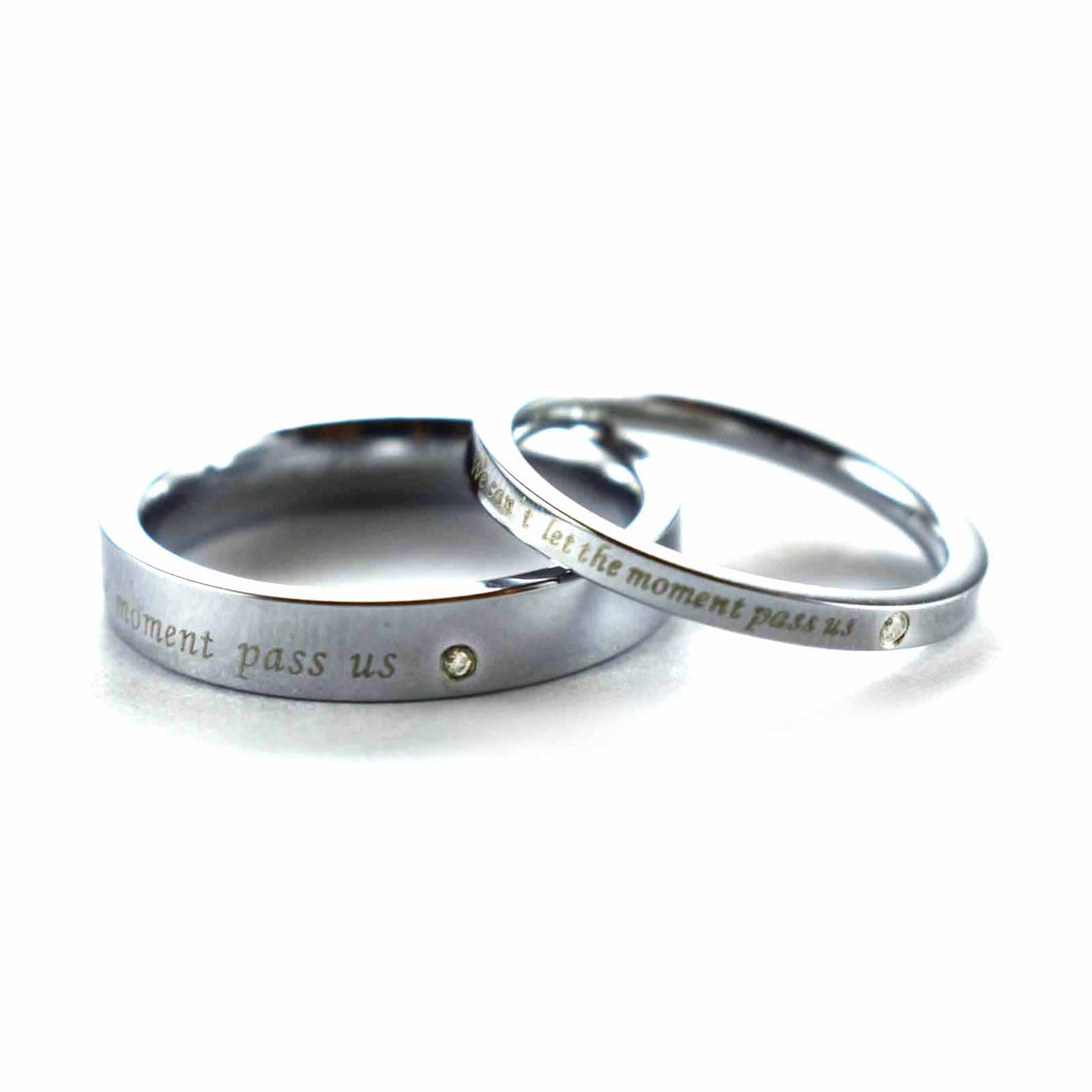 We can't let the moment pass us stainless steel couple ring