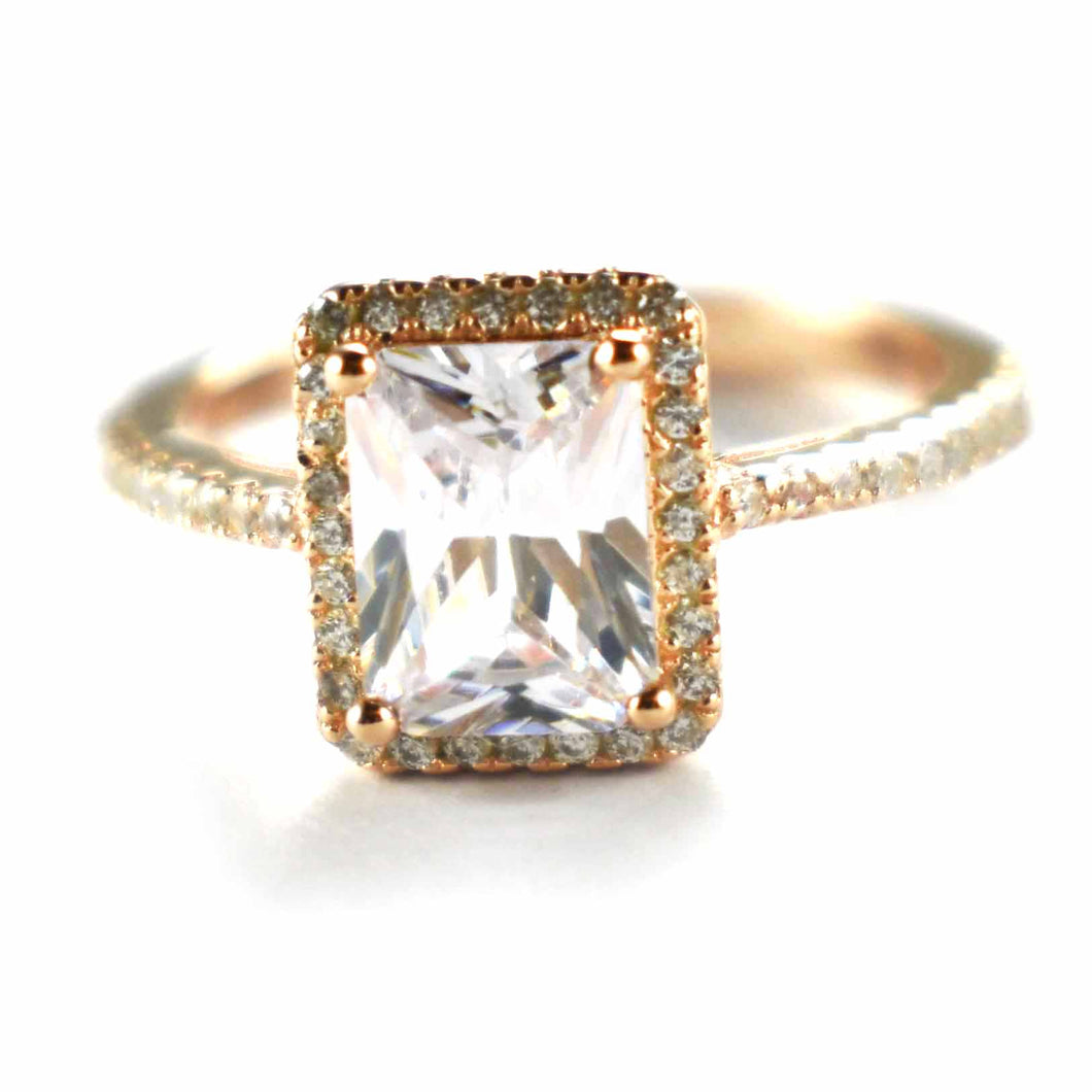 Wedding silver ring with rectangle white CZ & pink gold plating