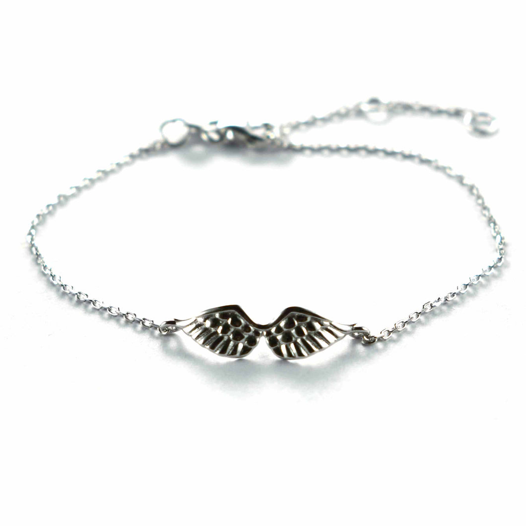 Wing silver bracelet with platinum plating